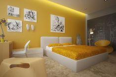 Kinderzimmer Wand in Gelb