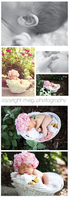 Newborn photos taken with flower hat outside in adorable basket.  So cute!  Babies and Bellies May 29-June 4 Sessions [Noblesville Maternity Newborn Family Photographer] | Meg Wedding Photography