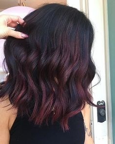 Chocolate Cherry is slaying this Fall! We love this color created with Calura Reds Chocolate Cherry is slaying this Fall! We love this color created with Oligo Professionnel's Calura Reds. Luxy Hair, Ombré Hair, Hair Dos, New Hair, Chocolate Cherry Hair Color, Cherry Hair Colors, Dark Cherry Hair, Dark Hair Colours, Black Cherry Hair Color