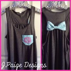 Monogram Pocket Tank Top with Bow $25  From J.Paige Designs To Order- email jpaigedesigns13@gmail.com