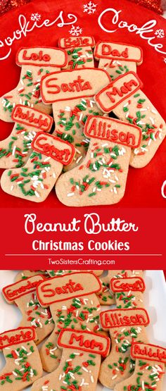 Peanut Butter Christmas Cookie Stockings are a Christmas Dessert that everyone will love. These yummy and easy to make Peanut Butter Christmas Treats take the traditional Sugar Christmas Cookie to the next level. Pin this colorful and festive Holiday dessert for later and follow us for more great Christmas Food ideas.