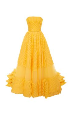 Carolina Herrera Embroidered Silk Organza Gown In Yellow Yellow Evening Dresses, Yellow Gown, Evening Gowns, Yellow Maxi, Yellow Shoes, Carolina Herrera Dresses, Event Dresses, Maxi Dresses, Embroidery Dress