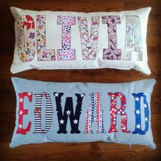 Applique Cushions, Cute Cushions, Cushions To Make, Scatter Cushions, Personalised Cushions, Handmade Cushions, Cushion Ideas, Pillow Ideas, Children Projects