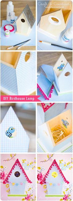 DIY birdhouse lamp - with a washi tape bunting