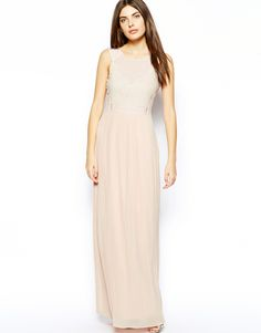 Ted Baker Pleated Maxi Dress with Lace Detail