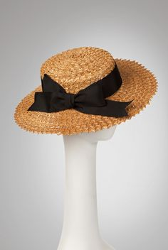 """""""Canotier"""" A shallow-crowned boater hat of vintage novelty Florentine straw. Slyly sweet and oh-so charming!  Jill Courtemanche 