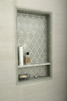 Smoke Arabesque Glass Tile 2019 {love this tile} Pretty shower niche using Smoke Glass Arabesque tile.subwaytileout The post Smoke Arabesque Glass Tile 2019 appeared first on Shower Diy. Upstairs Bathrooms, Laundry In Bathroom, Small Bathrooms, Bathroom Towels, Tiled Bathrooms, Downstairs Bathroom, Dream Bathrooms, Bad Inspiration, Bathroom Inspiration