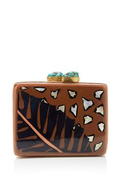 Anahaw Inlaid Resin Clutch by Aranaz Now Available on Moda Operandi
