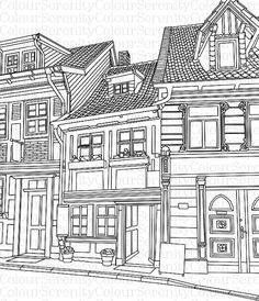 Adult Coloring Page Buildings Printable Par ColourSerenity