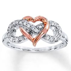 Heart Infinity Ring Heart Infinity Ring 1/6 ct tw Diamonds Sterling Silver/10K Gold SZ 8 in GREAT CONDITION Kay Jewelers Accessories
