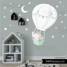 Animals with balloon WHITE baby wall decal