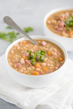 This Slow Cooker Ham and Beans is the epitome of cool weather comfort food and is the perfect dish to make the day after a big family ham dinner.