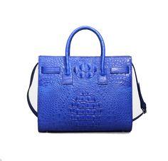 Bag: Crocodile Skin Leather Double Handle Tote Shoulder BagColor:Black/Wine RedMaterial: Crocodile