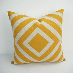 Linen Cotton Pillow Cover Heavy Weight Linen Cotton printed Geometric design in Yellow color.  # Item listed price is for ONE piece Pillow / cushion,