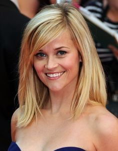 Reese Witherspoon Hair-  Side swoop and one length blunt