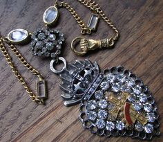 Ex voto necklace crown cross Victorian paste open back bezel jewelry one of a kind religious vintage antique assemblage by madonnaenchanted on Etsy