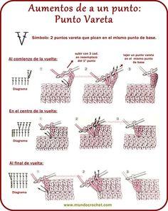 Como realizar aumentos y disminuciones en crochet o ganchillo