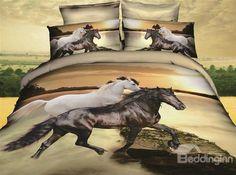 3D White and Black Horses Print 4 Piece Bedding Sets/Comforter Sets