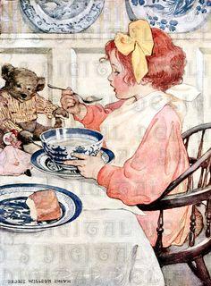 Jessie Wilcox Smith Prints | Teddy Bear Eats Breakfast. Jessie Wilcox Smith VINTAGE llustration ...