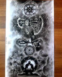 Viking Tattoo Sleeve, Viking Tattoo Symbol, Rune Tattoo, Norse Tattoo, Sleeve Tattoos, Tribal Arm Tattoos, Full Arm Tattoos, Eagle Tattoos, Arte Viking