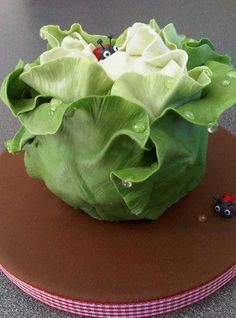 Cute cabbage cake. Love the ladybug peeking out from behind the leaf. If you know who made this cake please leave a note so I can add the attribution to this pin.