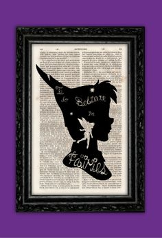 Peter Pan Profile Believe in Fairies Silhouette Art Print - Tinkerbell Disney Poster Book Art Nursery Dorm Room Gift Wall Decor Dictionary on Etsy, $9.73
