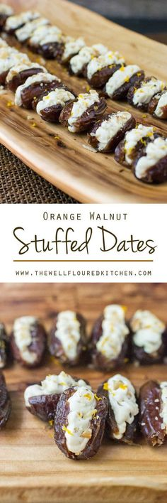 Dates stuffed with a lightly sweetened orange and honey cream cheese. Crunchy toasted walnuts make the perfect topping for these walnut stuffed dates! Orange Walnut Stuffed Dates {Easy Snack or Appetizer Recipe Idea} Date Recipes, Fruit Recipes, Snack Recipes, Dessert Recipes, Cooking Recipes, Recipies, Tapas, Oreo Dessert, Appetizers For Party