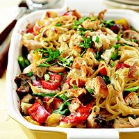 Potluck Chicken Tetrazzini- yum! sounds pretty healthy too!