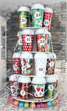 50 Cool DIY Advent Calendars | Shelterness- coffee cup advent calendar!