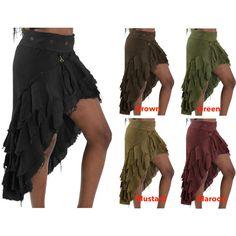 Steampunk Skirt Burlesque Skirt Rouch Skirt Flamenco Skirt Midi Skirt... ($59) ❤ liked on Polyvore featuring black, skirts and women's clothing