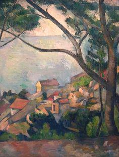 CEZANNE,1878-79 - Mer à l'Estaque, derrière les Arbres - Sea at l'Estaque (Musée Picasso) - Detail -i : « Il y a des motifs qui demanderaient trois ou quatre mois de travail, qu'on pourrait trouver, car la végétation n'y change pas. Ce sont des oliviers et des pins qui gardent toujours leurs feuilles…. » (CEZANNE à Pissarro, L'Estaque, 2 juillet 1876)