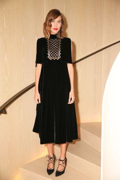 Wearing all black doesn't have to mean boring. Whether you want to elevate your nighttime style, or your go-to pants and blazer, get inspired by our favorite style stars who make the look anything but basic; Alexa Chung.