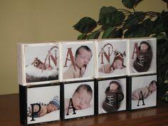 Mothers Day Gift PHOTO BLOCKS PERSONALIZED Gifts for Nana, Papa, Grandparents, Grandpa, Grandma, - Set of 4 Blocks. $35.99, via Etsy.