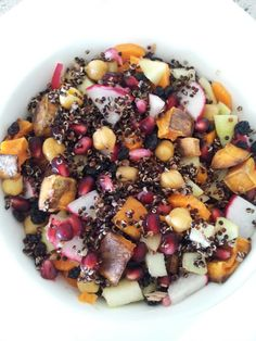 Roasted sweet potato, chickpeas, radish, diced apple, carrots, dried currants, fresh pomegranate and quinoa