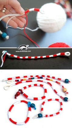 Check the way to make a special photo charms, and add it into your Pandora bracelets. How to make a Yarn Bracelet Diy Jewelry Projects, Jewelry Kits, Jewelry Findings, Custom Jewelry, Jewelry Crafts, Handmade Jewelry, Jewelry Making, Kids Jewelry, Yarn Bracelets