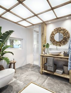 Tropical Villa In Thailand Based On An Ancient System Of Architecture Villa Design, Tropical Houses, Tropical Decor, Tropical Bathroom, Wooden Accent Wall, Staircase Design, Bathroom Interior Design, New Homes, Home Decor