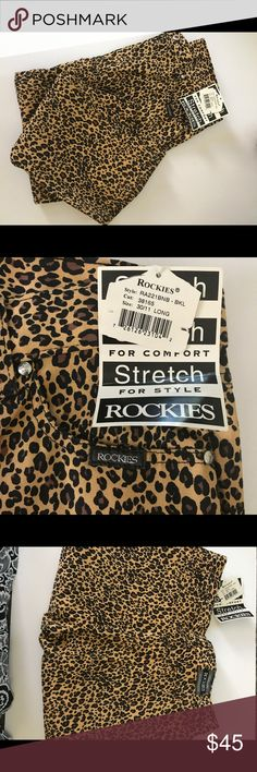 """Rockies NWT Stretch Animal Print Jeans Size 30/11 or L/96% Cotton/4% Spandex/Dry Clean/inseam measures 33"""" Rockies Jeans Flare & Wide Leg"""