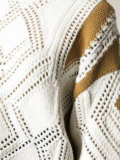 3.1 Phillip Lim geometric pattern sweater Summer Knitting, Lace Knitting, Knitting Stitches, Knit Crochet, Knitwear Fashion, Crochet Fashion, Sweater Fashion, Crochet Designs, Knitting Designs