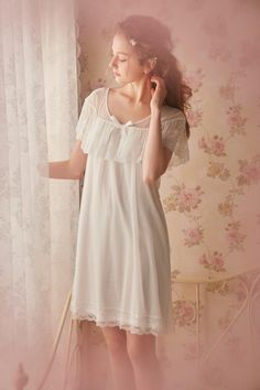 0a1a04a9b86 Belle s words Cool Lace Short Sleeve Vintage Night Gown Summer
