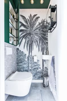 Space Saving Toilet Design for Small Bathroom - Home to Z Space Saving Toilet, Small Toilet Room, Guest Toilet, Wallpaper Toilet, Look Wallpaper, Wallpaper Murals, Bad Inspiration, Bathroom Inspiration, Bathroom Design Small