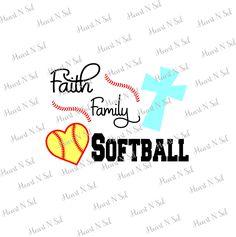 Softball, Softball mom, Faith, Family,  Softball word art, Softball heart, SVG, EPS, DXF, Digital file, Instant Download, Silhouette, Cricut by HeartNSolDesigns on Etsy