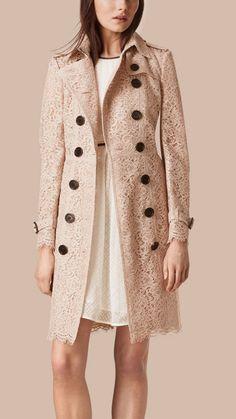 Rosa taupe envejecido Trench coat en encaje italiano - Imagen 1