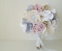 Vintage fabric bridal bouquet, Weddings, Brooch bouquet, Wedding bouquet, Lace bouquet. £175.00, via Etsy.