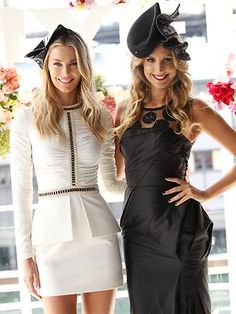 Jen Hawkins in Sass and Bide and Laura Dundovich in Aurelio Costarella with Kerrie Stanley millinery Myer A/W Racing media launch 2013 Race Day Outfits, Derby Outfits, Races Outfit, Spring Racing Dresses, Dresses For The Races, Latest Fashion Trends, Trendy Fashion, Womens Fashion, Female Fashion