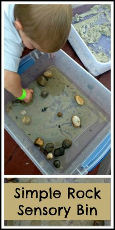 Sensory bins make the best activities for toddlers.  This rock sensory bin provided opportunities to explore nature, textures, and more.  It was so simple and entertained my twin toddlers for hours.