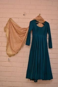 Cobalt blue plain anarkali with sequin scalloped dupatta