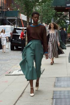 12 - The Cut- Rachel Comey - on the sidewalk. Love these colors!!!! Creamy sage with coffee and cobalt - yes - really fun pants too.