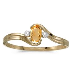 10k Yellow Gold Oval Citrine And Diamond Ring (Size 5). Beautiful complimentary gift box included with this purchase. Setting made entirely with genuine solid 10 karat gold. Main stone size: 5x3 mm. All gemstones are genuine. 30 Day Satisfaction Guarantee.