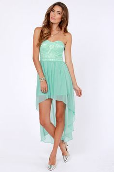 Keep a High-Low Profile Strapless Mint Dress.  I am in love with this site!!!!!!  So many amazing dresses!