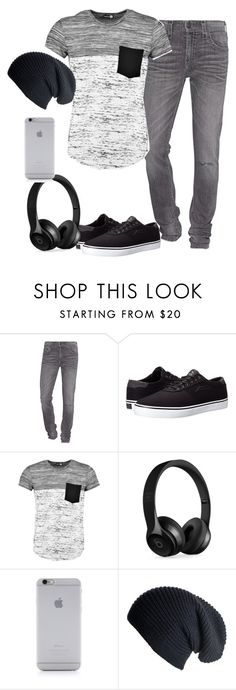 """""""Untitled #2310"""" by samanthay7 ❤ liked on Polyvore featuring True Religion, Lakai, Boohoo, Beats by Dr. Dre, Native Union, Black, men's fashion and menswear"""